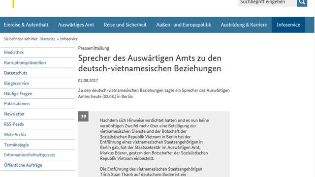 Ảnh màn hình trang web Bộ Ngoại giao Đức