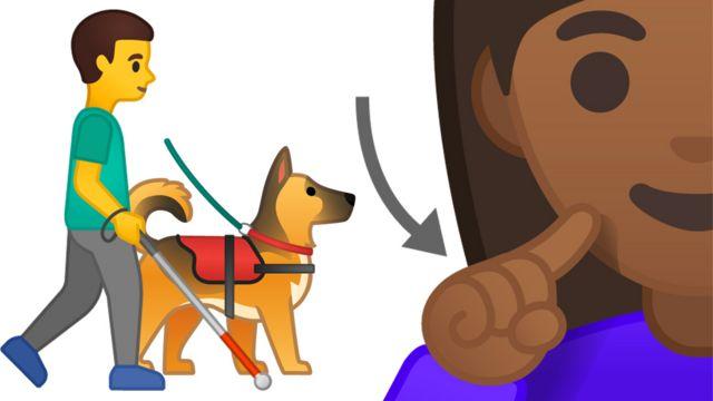 Un hombre con bastón, un perro de servicio y una persona señalando su sordera.