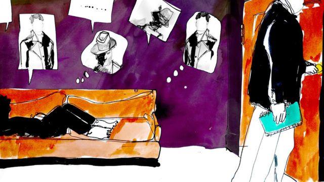 Ilustração de uma pessoa falando com um terapeuta sobre seus problemas