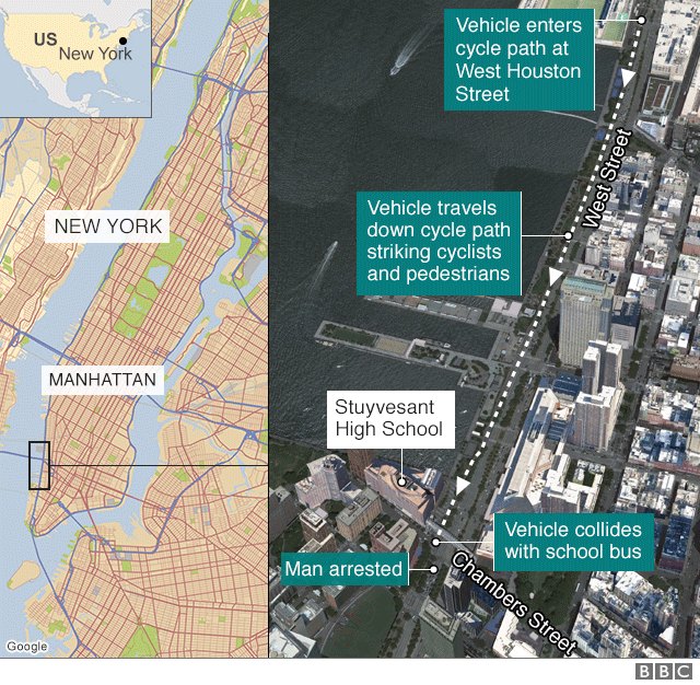 Map showing route of vehicle in New York attack - 1 November 2017