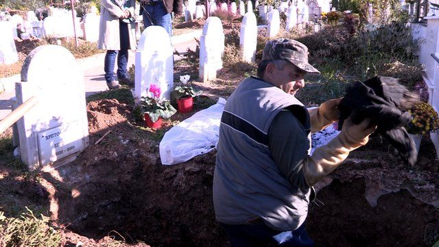 Grave being exhumed in Greece