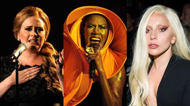 Montage of Adele, Grace Jones and Lady Gaga