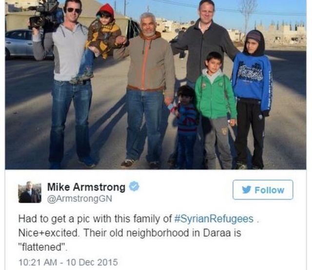 グローバルニュースのアームストロング記者のツイート