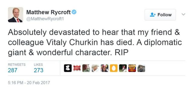 """A tweet from Matthew Rycroft saying: """"Absolutely devastated to hear that my friend & colleague Vitaly Churkin has died. A diplomatic giant & wonderful character. RIP"""""""