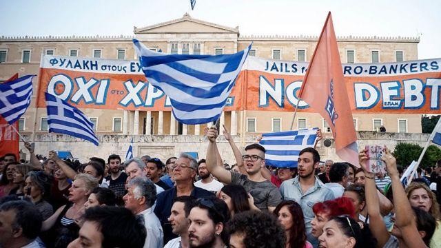 Manifestación popular en Grecia en 2015.