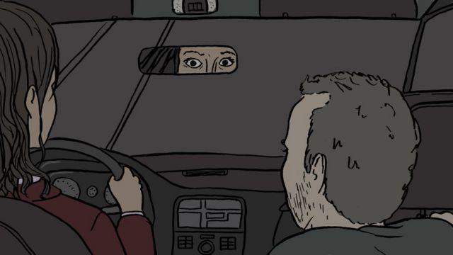 Ilustração de motorista de Uber assustada olhando pelo retrovisor