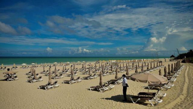 Empty beach in Matanzas Province, Cuba, on 23 October 2020