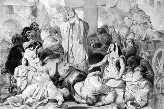 Litografía de gente rezando para evitar la plaga, 1350