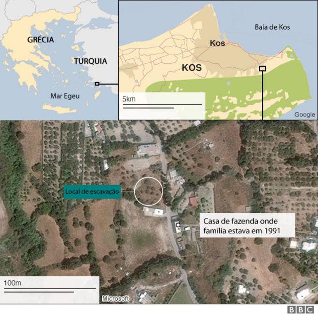 Mapa do local das buscas