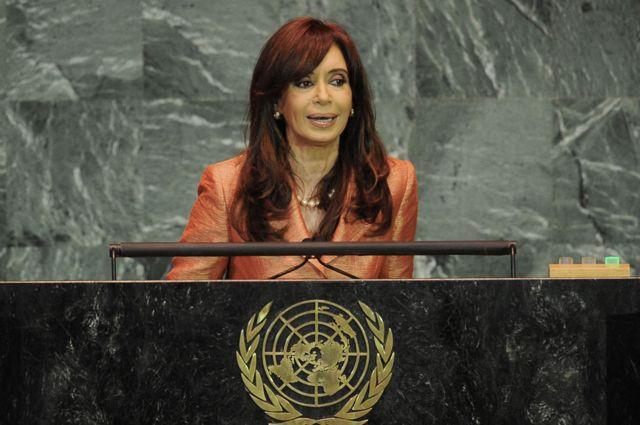 Cristina Fernández de Kirchner hablando durante la Asamblea General de la ONU, en 2009