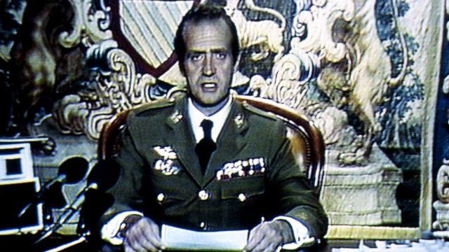 Juan Carlos I en un discurso televisado durante el golpe de Estado del 23 de febrero de 1981 en España