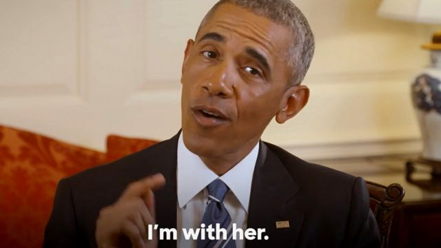 クリントン氏支持を表明するオバマ大統領のビデオから