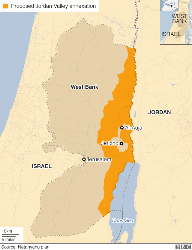 Map of West Bank showing Benjamin Netanyahu's proposal for annexing the Jordan Valley and northern Dead Sea