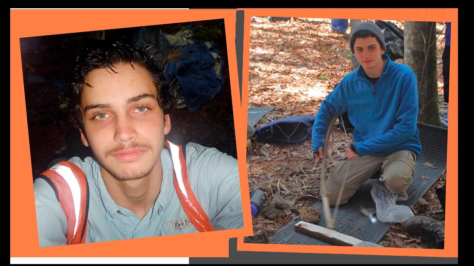 Fotos coladas lado a lado mostrando Daniel em um programa na selva aos 15 anos
