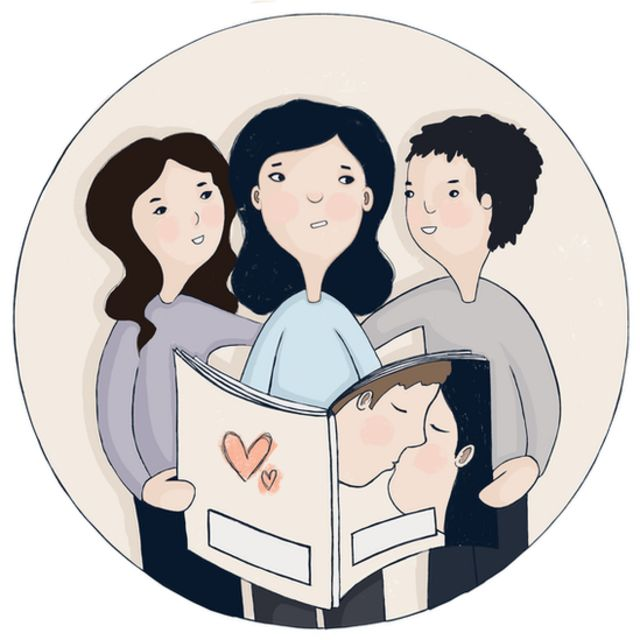 Animation of a family looking at a book about romance