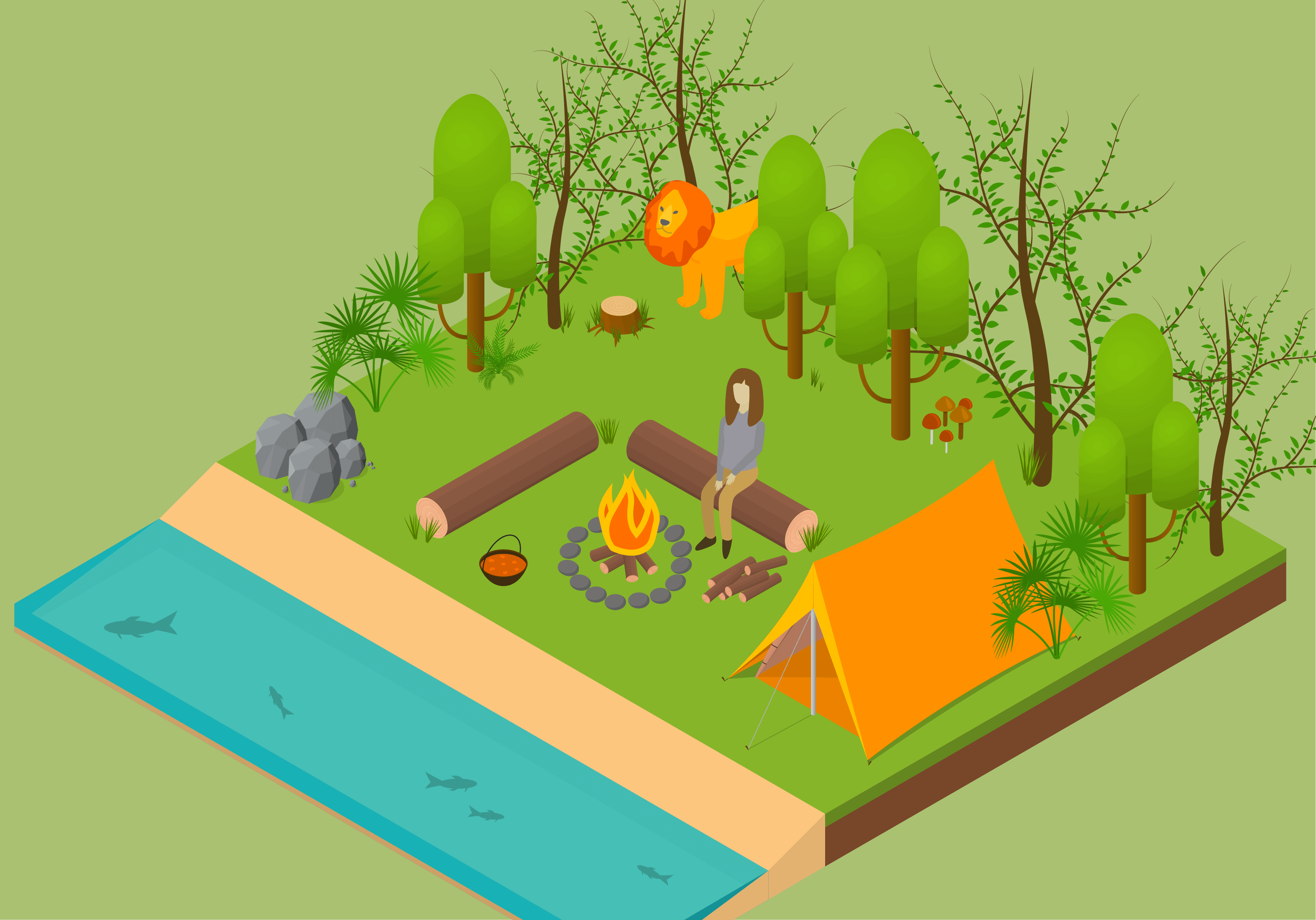 Ilustración isométrica de una mujer acampando en la selva.