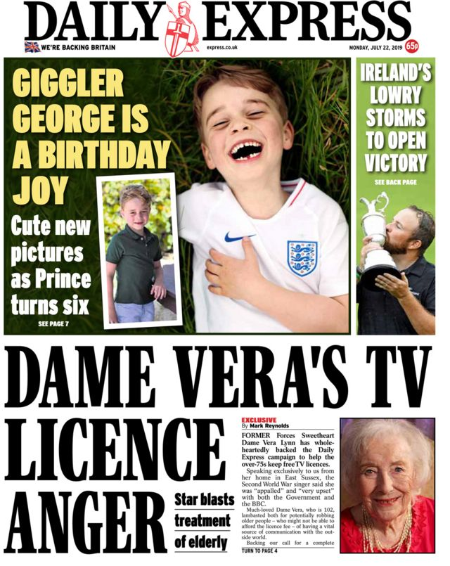 Newspaper headlines: Tories facing 'chaos' and Prince George turns six