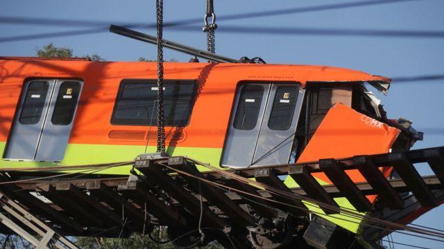 Collapsed subway car
