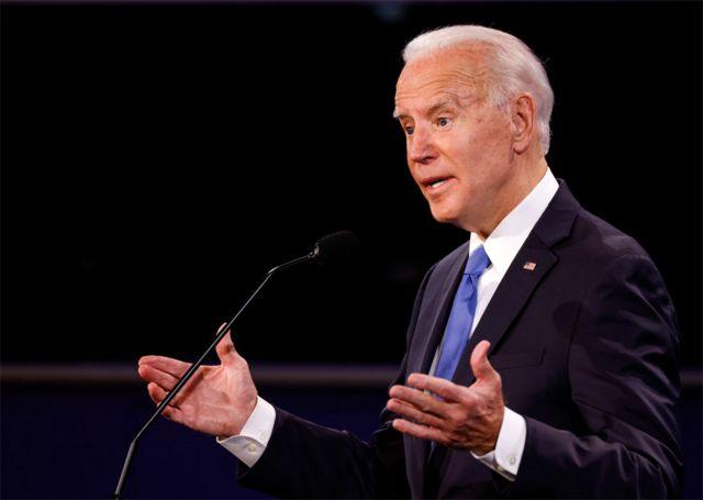 نائب الرئيس السابق جو بايدن كما بدا في المناظرة