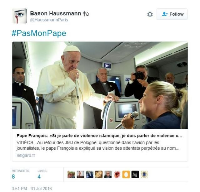'Not my Pope' hashtag highlights French divisions