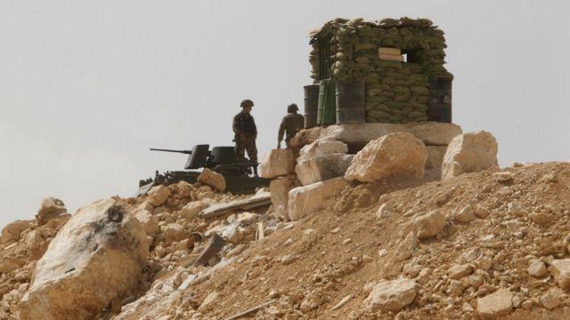 نقطة حراسة تابعة للجيش اللبناني في بلدة عرسال