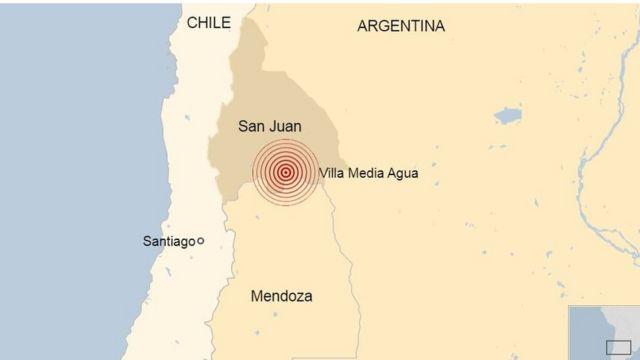 Mapa terremoto Argentina
