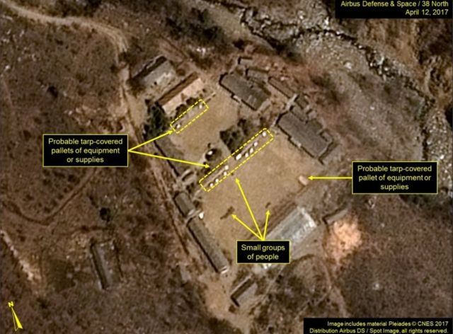 "This handout picture obtained on April 13, 2017 from French space agency Centre national d'etudes spatiales (CNE - National Centre for Space Studies), Airbus Defense and Space and the 38 North analysis group, shows a satellite image taken on April 12, 2017 of North Korea""s Punggye-ri Nuclear Test Site,"