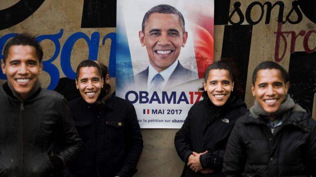 Mabango yalio na picha ya Obama yamewekwa mjini Paris