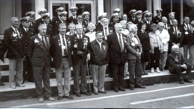 Ветераны Арктических конвоев во время первого визита в Архангельск в 1991 году