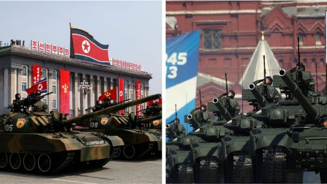 North Korean and Russian military parades
