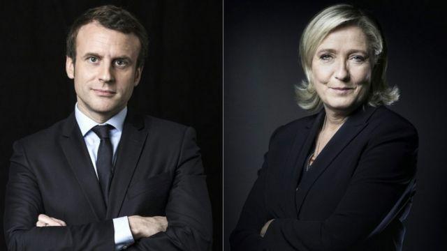 Emmanuel Macron ve Ulusal Cephe Partisi lideri Marine Le Pen