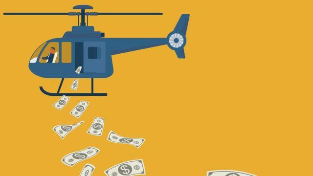 Helicóptero lanzando dinero (dibujo)