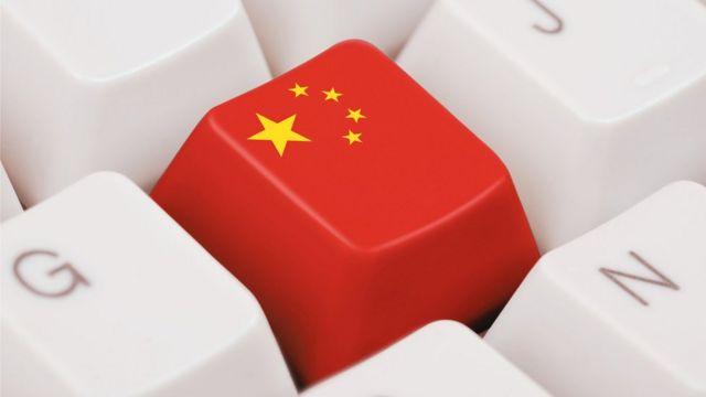 Teclado com símbolo da bandeira chinesa