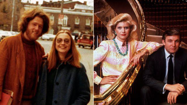 左の写真は1972年のヒラリー・ロダムとビル・クリントン。右の写真は1990年のドナルドとイバナ・トランプ夫妻。