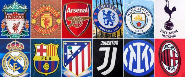 Los doce clubes fundadores de la competición: Liverpool, Manchester United, Arsenal, Chelsea, Manchester City, Tottenham Hotspur, Real Madrid, Atlético de Madrid, Juventus, Inter y AC Milan.