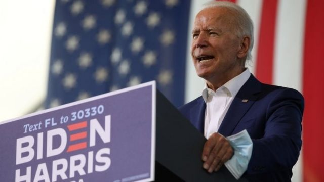Demokrat cumhurbaşkanı adayı ve eski ABD Başkan Yardımcısı Joe Biden 3 Kasım'daki ABD seçimlerinde
