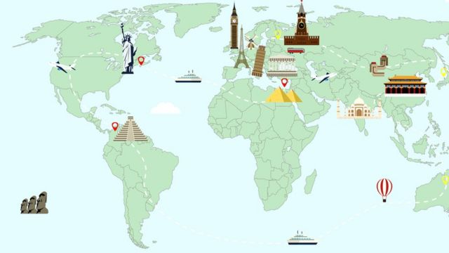 Mapa situando principales monumentos del mundo