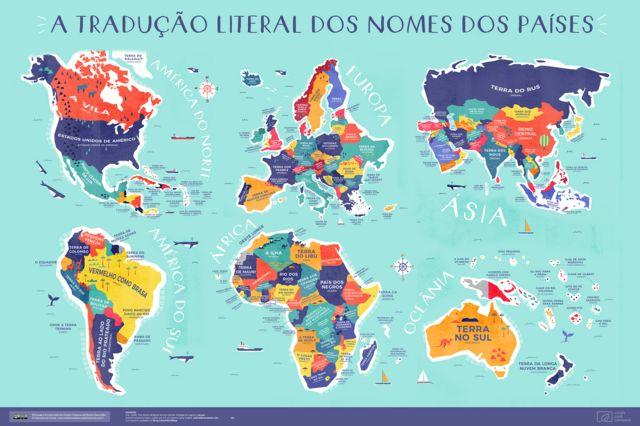 Mapa com os seis continentes