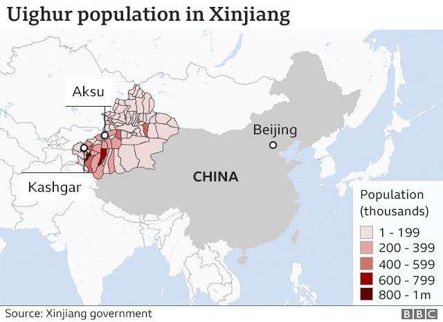 Map of China shows density of Uighur population in Xinjiang region