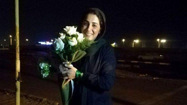 نرگس حسینی بعد از آزادی از زندان، بهمن ۱۳۹۶