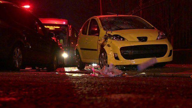 Crashed car on road