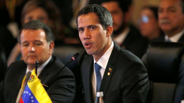 Juan Guaidó, autoproclamado presidente interino da Venezuela, discursa no encontro do Grupo de Lima, em 25 de fevereiro de 2019