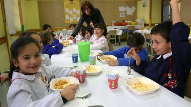 Almoço escolar na Itália