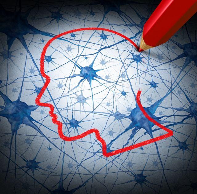 Desenho de neurônios na cabeça