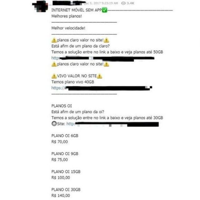 Usuário oferece plano de telefone em grupo do Telegram