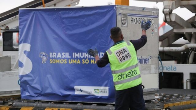 Two million doses of AstraZeneca/Oxford vaccines against the coronavirus disease arrive in Brazil from India
