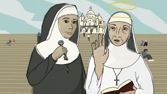 Иллюстрация, изображающая монахинь на ступенях Сакре-Кёр