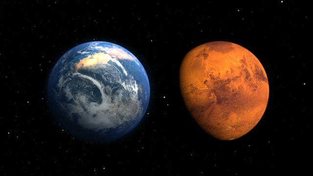 Ilustraciones de Marte en el pasado con atmósfera y océanos como la Tierra y actualmente