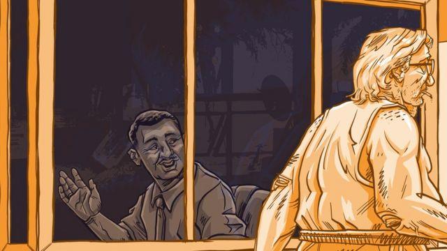 Ilustração mostra porteiro saudando morador, que passa sem olhá-lo