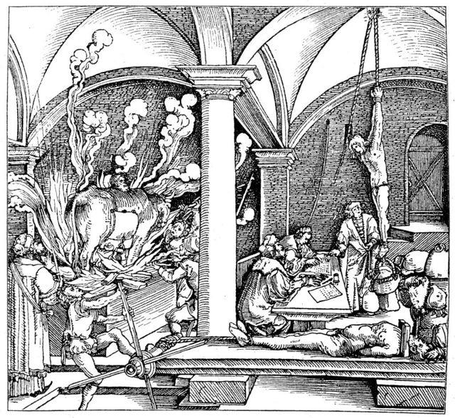 Ilustración de una cámara de tortura en Alemania en el siglo XVI.